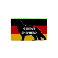 German Shepherd Name Silhouette On Flag Black Cosmetic Bag (XS)