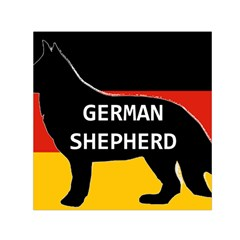 German Shepherd Name Silhouette On Flag Black Small Satin Scarf (Square)
