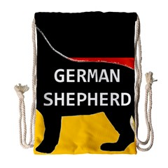 German Shepherd Name Silhouette On Flag Black Drawstring Bag (Large)