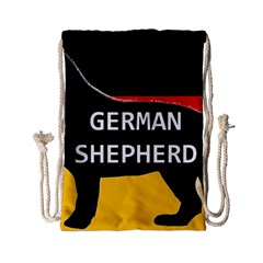 German Shepherd Name Silhouette On Flag Black Drawstring Bag (Small)