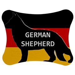 German Shepherd Name Silhouette On Flag Black Jigsaw Puzzle Photo Stand (Bow)