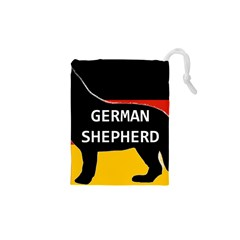 German Shepherd Name Silhouette On Flag Black Drawstring Pouches (XS)