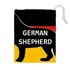 German Shepherd Name Silhouette On Flag Black Drawstring Pouches (Extra Large)