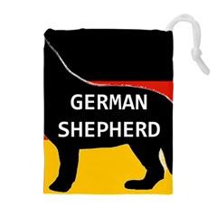 German Shepherd Name Silhouette On Flag Black Drawstring Pouches (Extra Large)