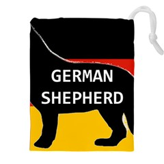 German Shepherd Name Silhouette On Flag Black Drawstring Pouches (XXL)