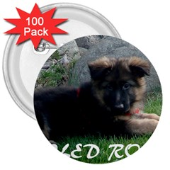 Spoiled Rotten German Shepherd 3  Buttons (100 pack)