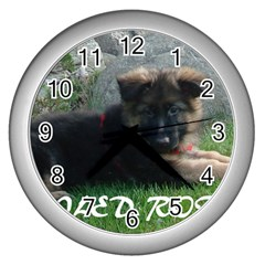 Spoiled Rotten German Shepherd Wall Clocks (Silver)