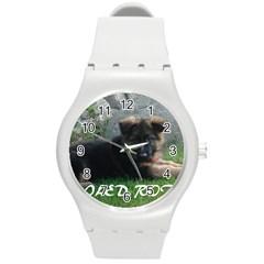 Spoiled Rotten German Shepherd Round Plastic Sport Watch (M)