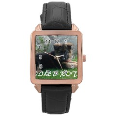 Spoiled Rotten German Shepherd Rose Gold Leather Watch
