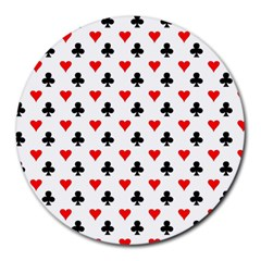 Curly Heart Card Red Black Gambling Game Player Round Mousepads