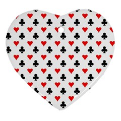 Curly Heart Card Red Black Gambling Game Player Ornament (Heart)
