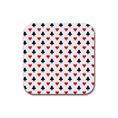 Curly Heart Card Red Black Gambling Game Player Rubber Square Coaster (4 pack)