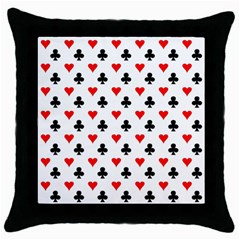 Curly Heart Card Red Black Gambling Game Player Throw Pillow Case (Black)