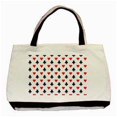 Curly Heart Card Red Black Gambling Game Player Basic Tote Bag