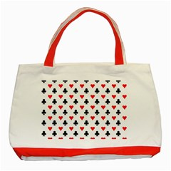 Curly Heart Card Red Black Gambling Game Player Classic Tote Bag (Red)