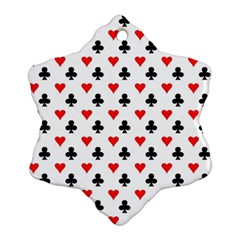 Curly Heart Card Red Black Gambling Game Player Ornament (Snowflake)