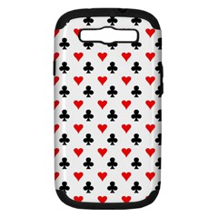Curly Heart Card Red Black Gambling Game Player Samsung Galaxy S III Hardshell Case (PC+Silicone)