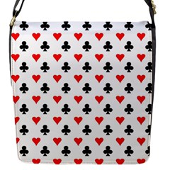 Curly Heart Card Red Black Gambling Game Player Flap Messenger Bag (S)