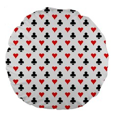 Curly Heart Card Red Black Gambling Game Player Large 18  Premium Flano Round Cushions