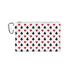 Curly Heart Card Red Black Gambling Game Player Canvas Cosmetic Bag (S)