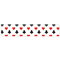 Curly Heart Card Red Black Gambling Game Player Flano Scarf (Small)