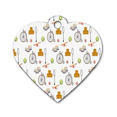 Circus Bicycle Wheel Dog Tag Heart (Two Sides)