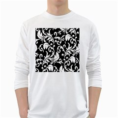 Clasic Floral Flower Black White Long Sleeve T-Shirts
