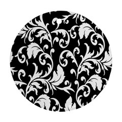 Clasic Floral Flower Black Round Ornament (Two Sides)