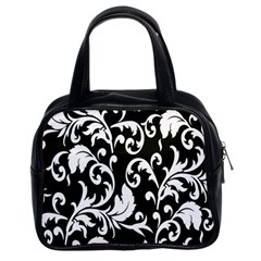 Clasic Floral Flower Black Classic Handbags (2 Sides)