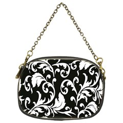 Clasic Floral Flower Black Chain Purses (One Side)