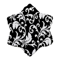 Clasic Floral Flower Black Ornament (Snowflake)