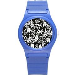 Clasic Floral Flower Black Round Plastic Sport Watch (S)