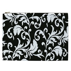 Clasic Floral Flower Black Cosmetic Bag (XXL)