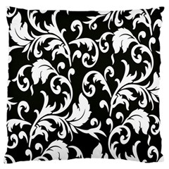 Clasic Floral Flower Black Large Flano Cushion Case (One Side)