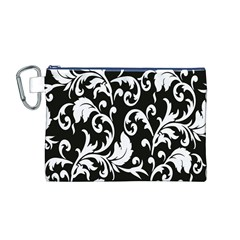Clasic Floral Flower Black Canvas Cosmetic Bag (M)