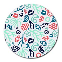 Coral Leaf Flower Sea Round Mousepads