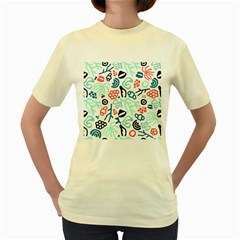 Coral Leaf Flower Sea Women s Yellow T-Shirt