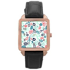 Coral Leaf Flower Sea Rose Gold Leather Watch