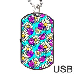 Bunga Matahari Serangga Flower Floral Animals Purple Yellow Blue Pink Dog Tag USB Flash (Two Sides)