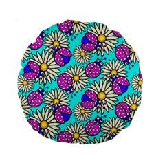 Bunga Matahari Serangga Flower Floral Animals Purple Yellow Blue Pink Standard 15  Premium Round Cushions