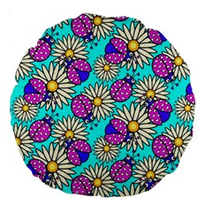 Bunga Matahari Serangga Flower Floral Animals Purple Yellow Blue Pink Large 18  Premium Round Cushions