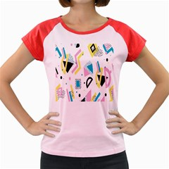 Design Elements Illustrator Elements Vasare Creative Scribble Blobs Yellow Pink Blue Women s Cap Sleeve T-Shirt