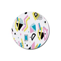Design Elements Illustrator Elements Vasare Creative Scribble Blobs Yellow Pink Blue Rubber Coaster (Round)
