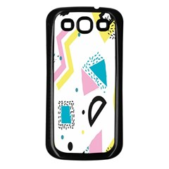 Design Elements Illustrator Elements Vasare Creative Scribble Blobs Yellow Pink Blue Samsung Galaxy S3 Back Case (Black)