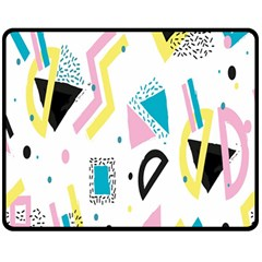 Design Elements Illustrator Elements Vasare Creative Scribble Blobs Yellow Pink Blue Double Sided Fleece Blanket (Medium)