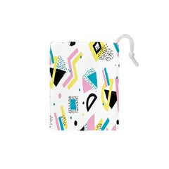 Design Elements Illustrator Elements Vasare Creative Scribble Blobs Yellow Pink Blue Drawstring Pouches (XS)