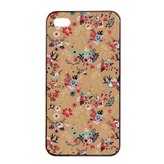 Deer Cerry Animals Flower Floral Leaf Fruit Brown Apple iPhone 4/4s Seamless Case (Black)