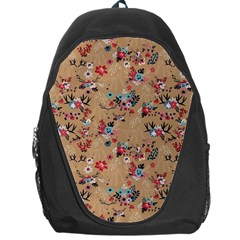 Deer Cerry Animals Flower Floral Leaf Fruit Brown Backpack Bag