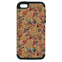 Deer Cerry Animals Flower Floral Leaf Fruit Brown Apple iPhone 5 Hardshell Case (PC+Silicone)
