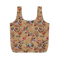 Deer Cerry Animals Flower Floral Leaf Fruit Brown Full Print Recycle Bags (M)